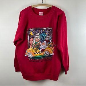 Vtg Hanes Santa Claus NYC Taxi Christmas Sweater